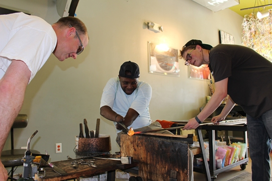 Thanks to John at Gatherhouse Glass Studio for taking Frederick in under your wing and letting him play with hot glass!